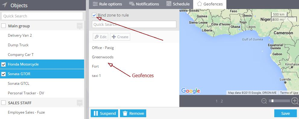 geofence for gps tracker rule